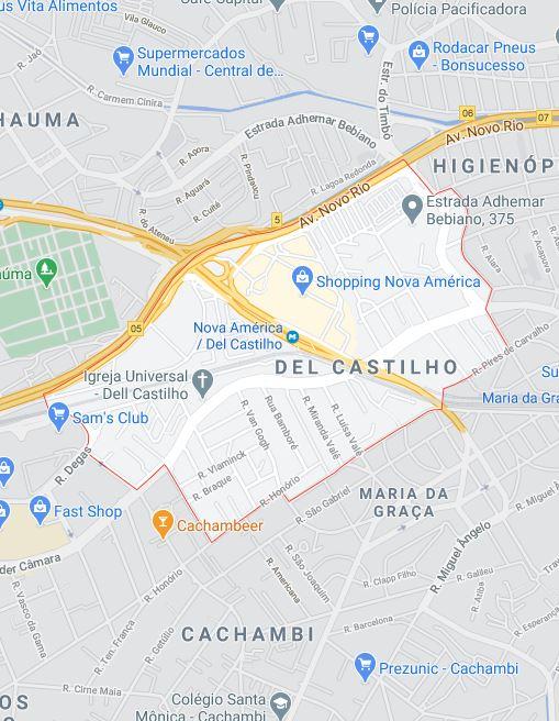 Mapa de Del Castilho RJ